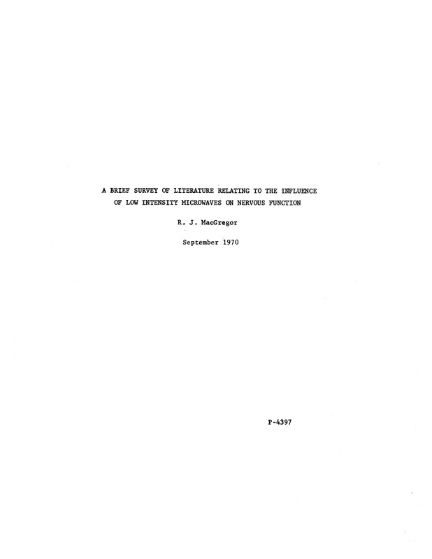 A brief survey of literature relating to the influence of low intensity microwave 1970